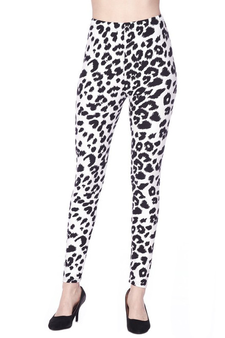 Long Leggings - Black and White Animal print, Plus size