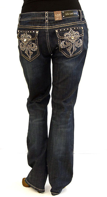LA Idol Jeans - Rhinestone Pockets Design. Plus Size