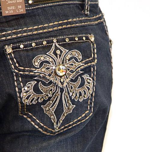 LA Idol Jeans - Rhinestone Pockets Design. Plus Size