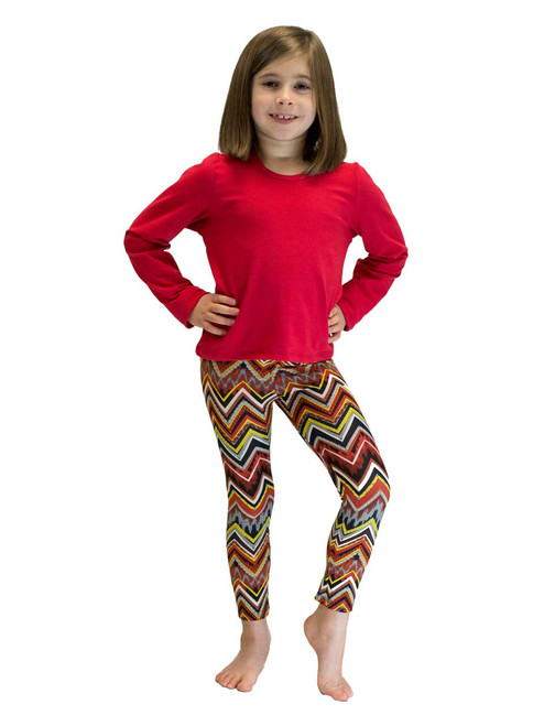 Long Leggings - Girls, Aztec Print Red