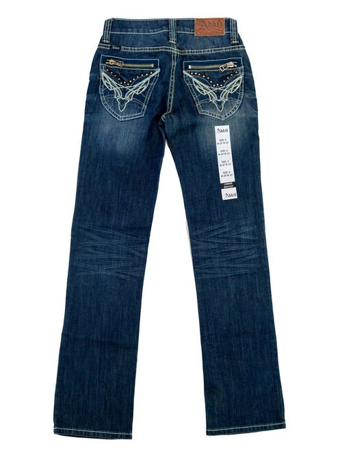 Adkitd Jeans - Ladies Low Rise, Boot Cut, Zippered Pockets. Junior Size