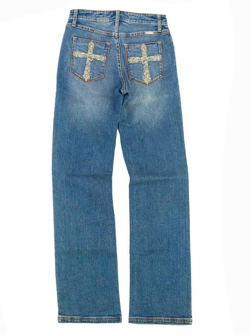 Lawman Jeans - Classic Premium Western Jeans...Gold Studded Cross Details. Size 3 x 34L