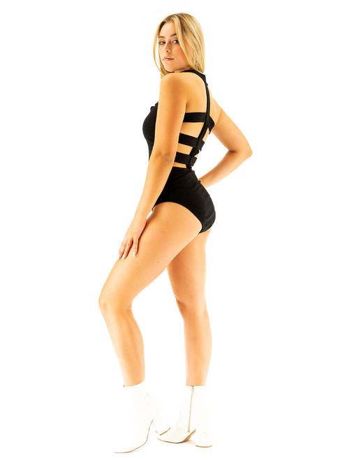 Vivian's Fashions - One Piece BodySuit, Black T Slash Panels Top