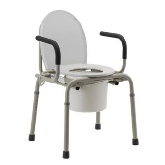 Drop Arm Commode - Gray