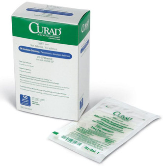 "CURAD Sterile Oil Emulsion Non-adherent Gauze Dressings, 3"" x 8"""