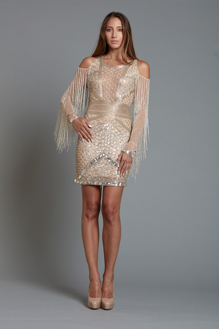 Champagne Illusion Front Beaded Short Dress.