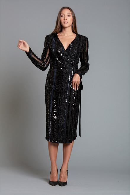Wrap Sequins Dress