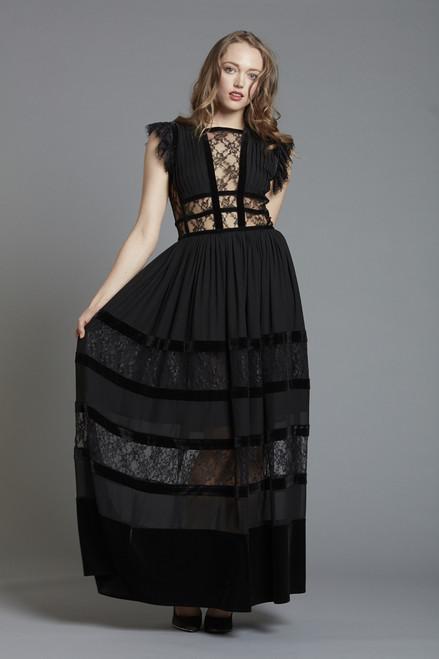 Lace and Velvet Trim Long Dress (SKU1828)
