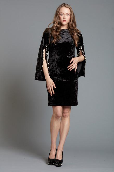 Velvet Split Sleeve Dress with Pearl Embellishment