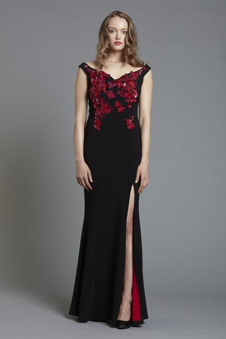 Floral Sequin Embellished Crepe Off Shoulder Gown with Front Slit