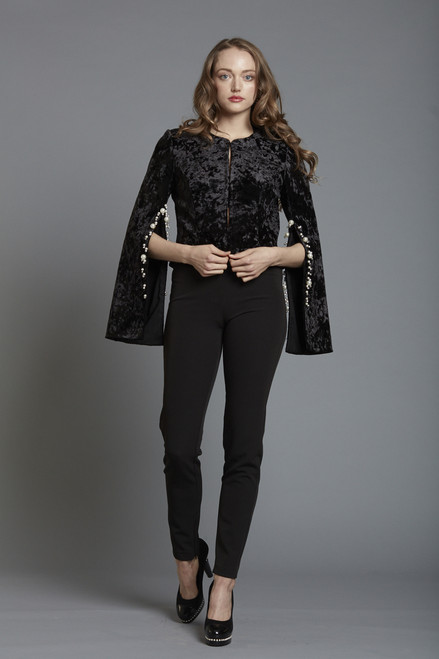 Split Sleeve Velvet Jacket Pearl Trim