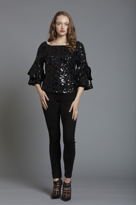 Sequin Tiered Sleeve Top