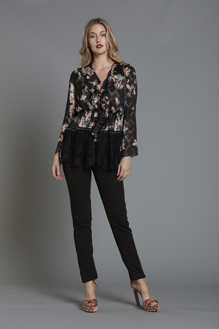 Printed Ruffle Front Blouse with Lace Trim