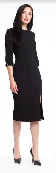 Metal Trimmed Crepe Dress