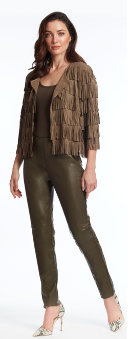 Ultra suede fringed jacket