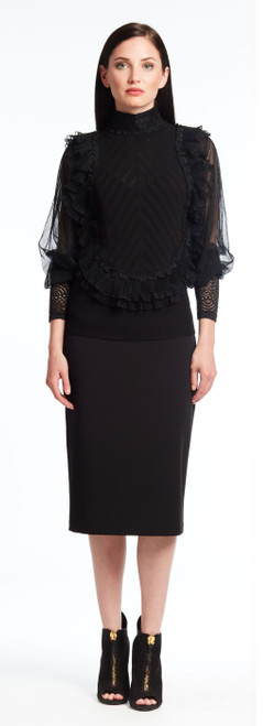 Mock Neck Top with ruffled Lace Trim