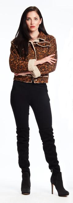 Faux Leopard Jean Jacket