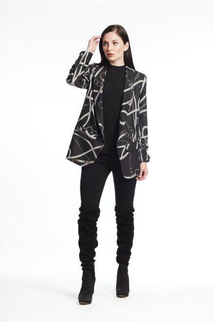 Chain & Rope Print Shawl Collar Jacket