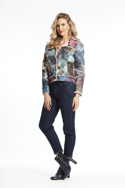 Paper print jean jacket