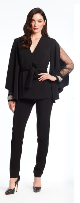 Wrap jacket with slit sleeve/mesh illusion inset