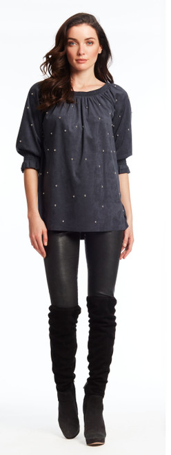 Studded faux suede top