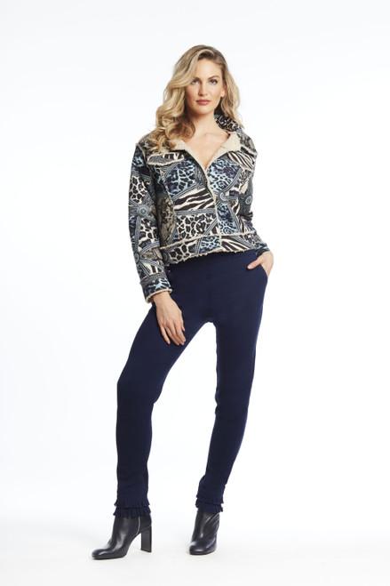 Geometric animal print jean jacket