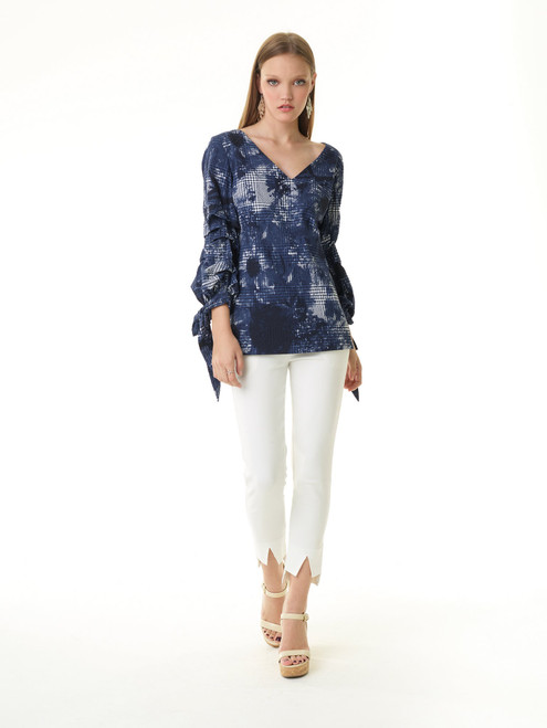 V-neck Rushed Tie Sleeve Top