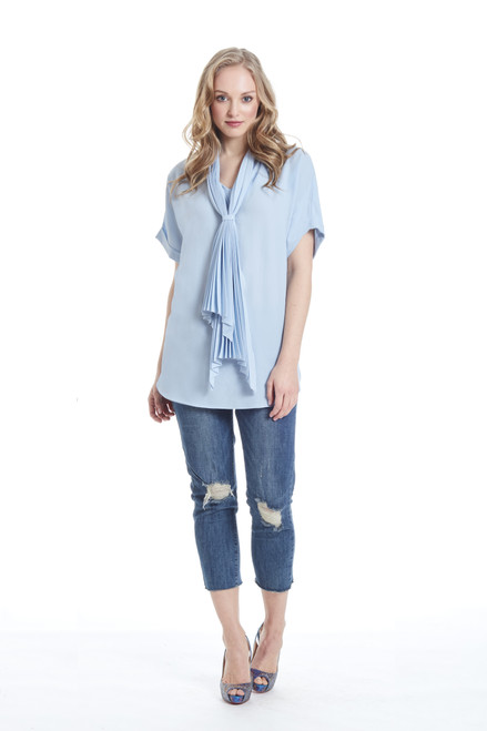 pleated blouse with tie