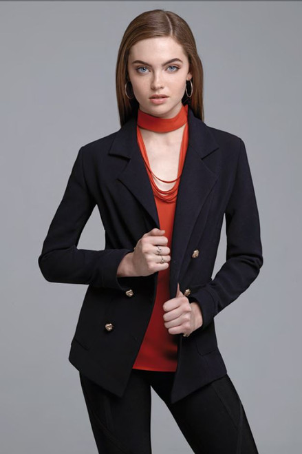 Doubled Breasted Crepe Jacket