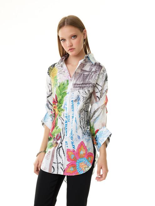 Tropical Print Tucked Sleeve Shirt