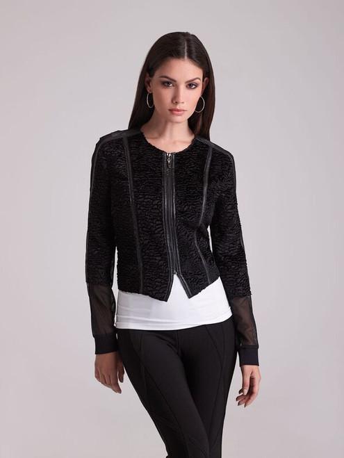Mesh/Fur Mix Zip Jacket