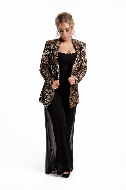 Leopard sequins jacket