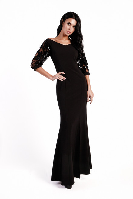 Sequince front slit gown