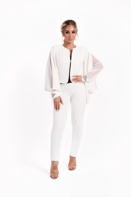 Elegant Blazer with cloak sleeves (white)