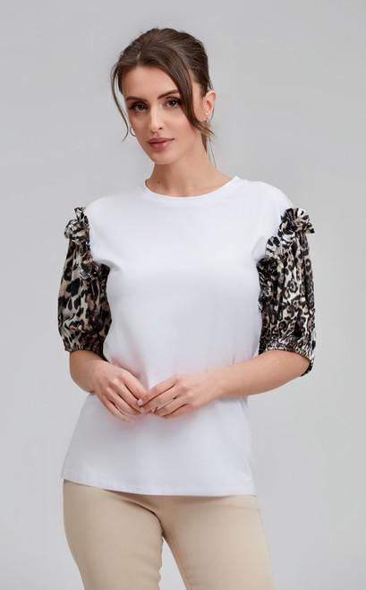 Leopard Sleeve White T-shirt