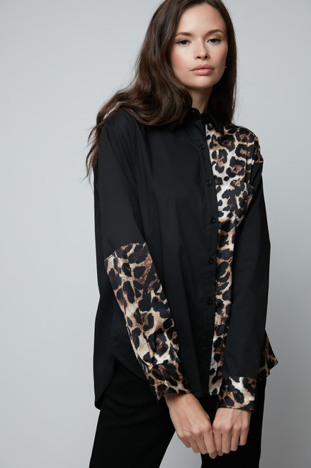 Mix Black and Leopard Blouse