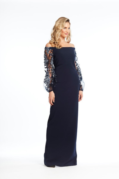 Mesh Beaded Long Sleeve Gown