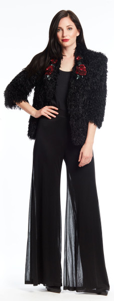 Faux long pile Jacket with Sequin Red Flower
