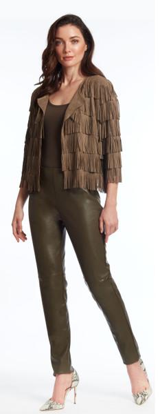 Ultra suede fringed jacket