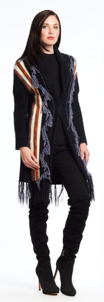 Cardigan with Fringed Trim