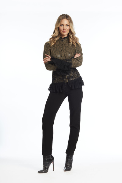 Python Print Long Sleeve Blouse with lace trim
