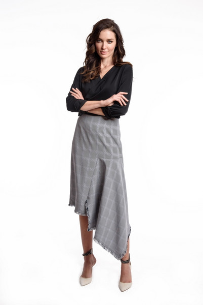 Asymmetric Raw Edge Menswear Plaid Skirt