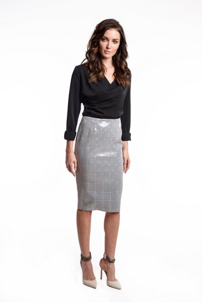 Clear Sequin Coated Menswear Plaid Skirt