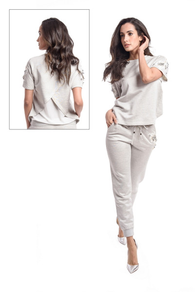 Short Sleeve Top with Pleated Back Detail