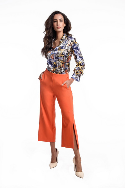 Butterfly Print Charmeuse Blouse