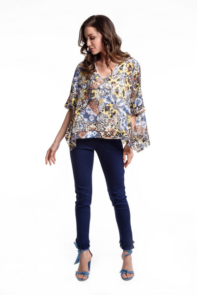 Butterfly Print Poncho Top