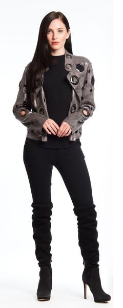 Grommet Foil Suede Jacket
