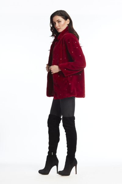 Faux Fur Coat with Rhinestone Embellishment
