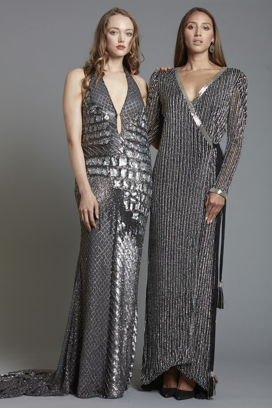 Beaded Sequin Wrap Dress (SKU1850)