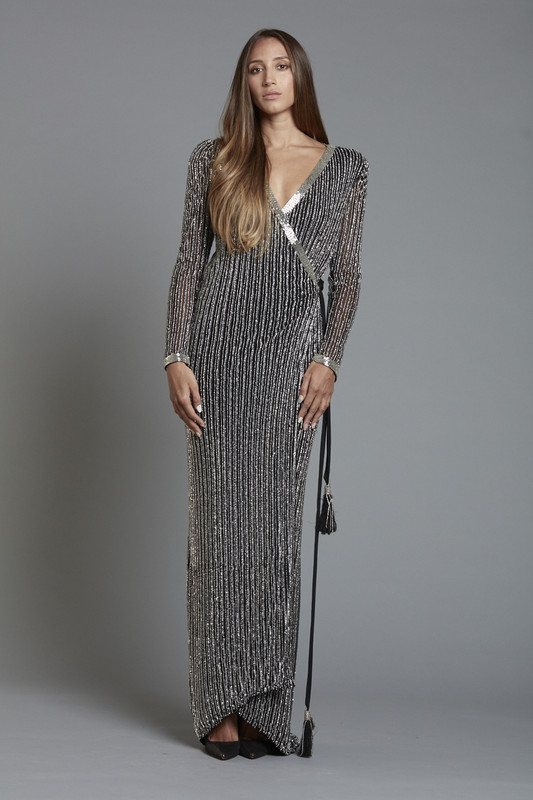 Black Beaded Sequin Wrap Dress (SKU1850)